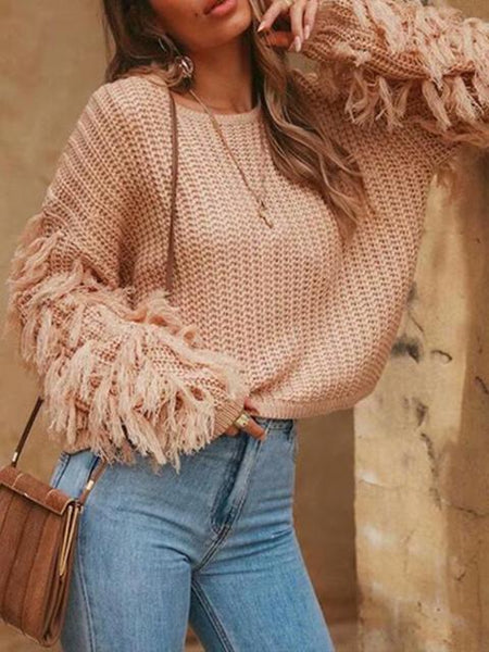 Solid Color Tassel Knitting Sweater