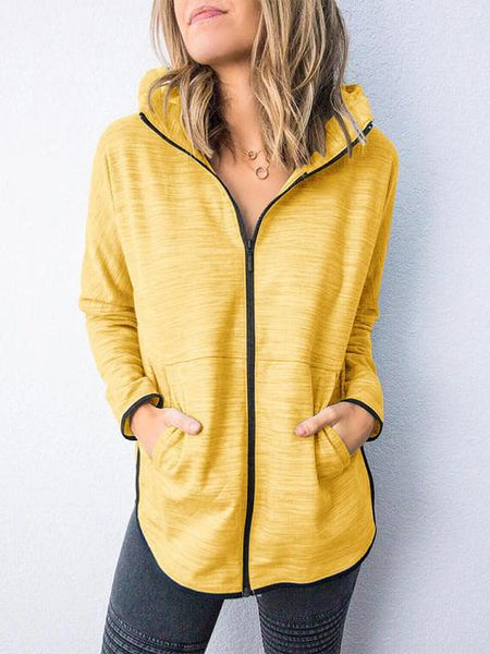 Solid Color Zip-up Hooded Tops