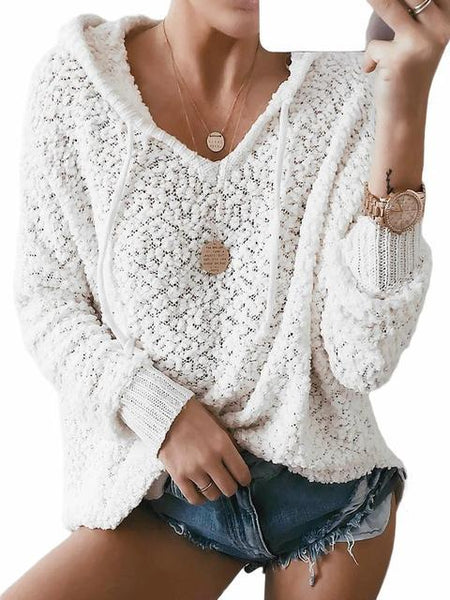 Solid Loose Hooded Short Sweater