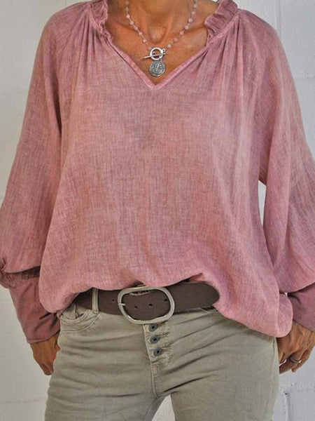 Solid Regular Long Sleeve Blouse Top