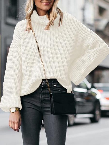 Solid Turtleneck Knitting Loose Sweater