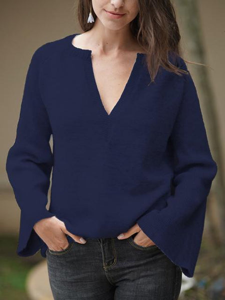Solid V Neck Long Sleeve Sweater