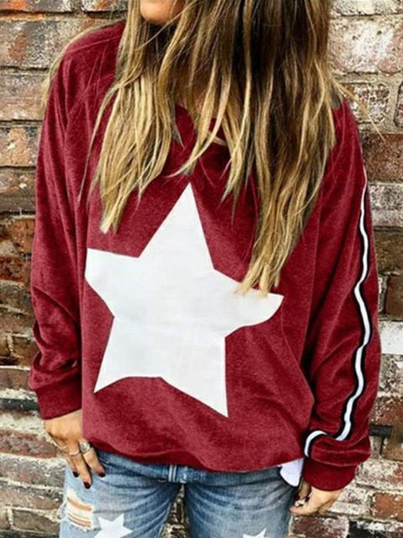 Star Pattern Long Sleeve Sweatshirt