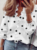 Stars Print Ruffled V-neck Blouse