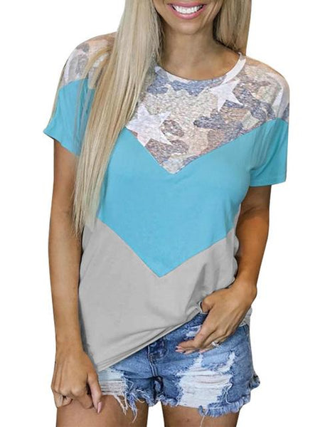 Stitched Print Round Neck T-shirt