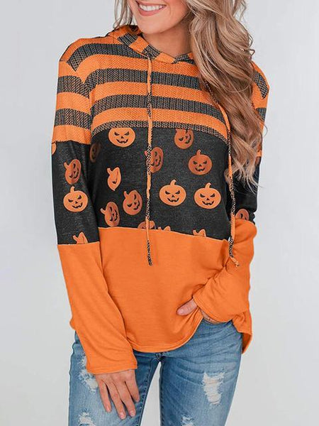 Halloween Pumpkin Print Striped Sweatshirt Hoodie