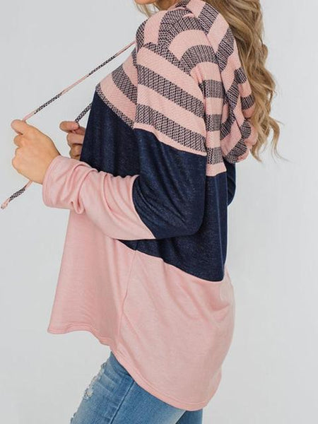 Striped Color Block Drawstring Hoodie Sweatshirt