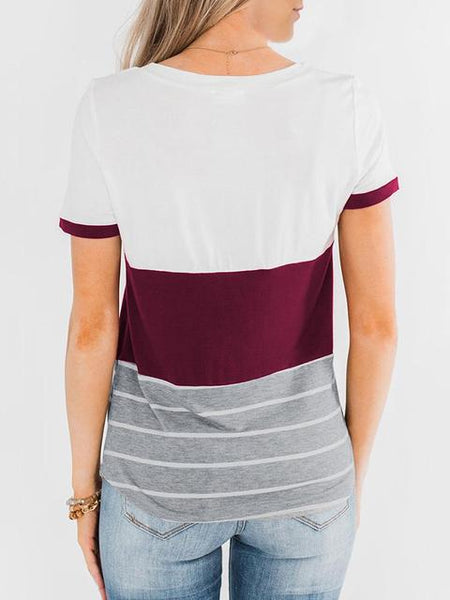 Striped Color Block T-shirt with Pocket