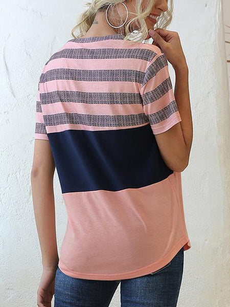 Striped Contrast Color Casual T-shirt