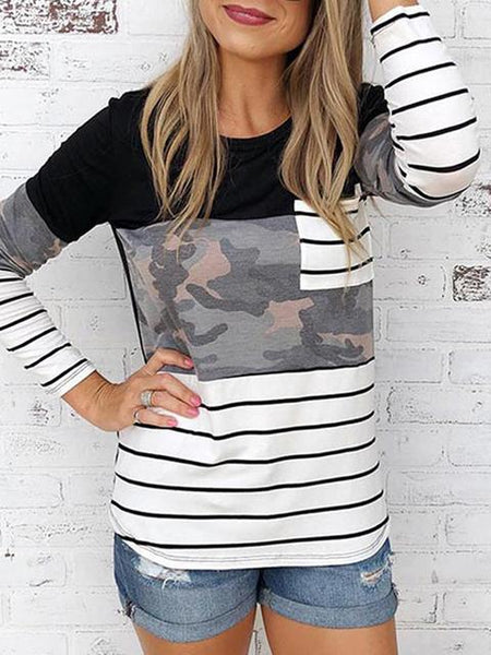 Striped Patchwork Print Long Sleeve Shirt