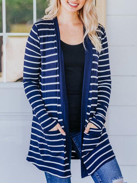 Striped Print Long Sleeve Cardigan Coat