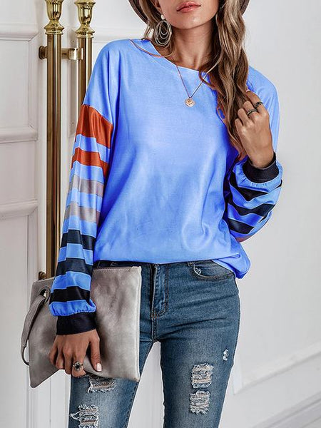 Striped Print Sleeve Round Neck Tops