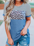 Striped Leopard Print Short Sleeve T-shirt