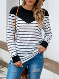 Stripes Print Color Stitching Round Neck Tops