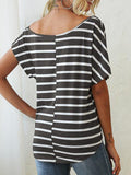 Stripes Print Knotted Loose T-shirt