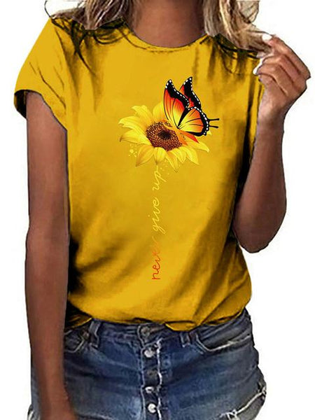 Sunflower Print Short Sleeve Cotton Tops