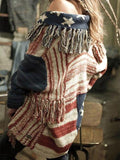 Tassel Stars Stripes Knitting Cardigan