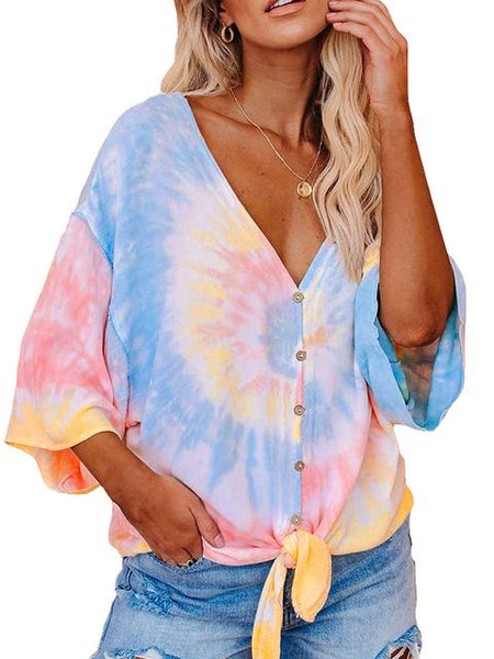Tie-dye Bat Sleeve Knotted Blouse