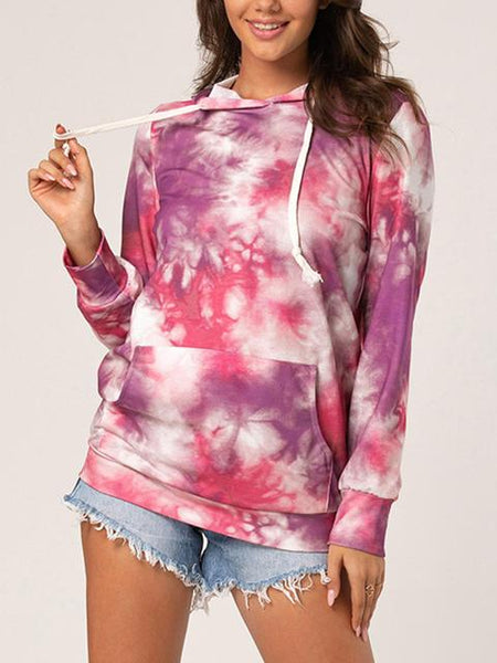 Tie-dye Hooded Pullover Sweatshirt