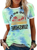 Tie-dye Letters Print Casual T-shirt