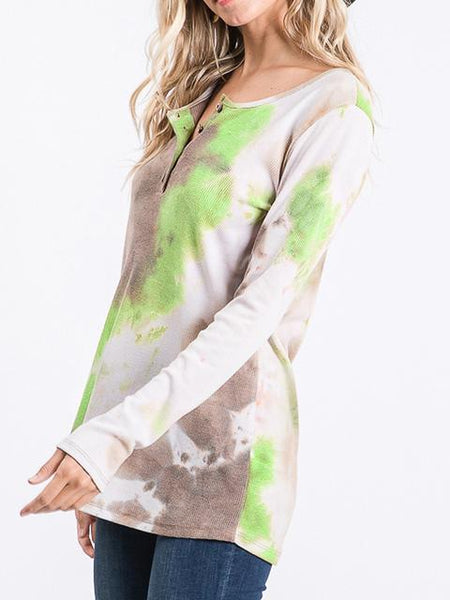 Tie-dye Print Button Up Tops