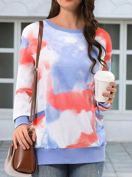 Tie-dye Print Casual Pullover With Pockets