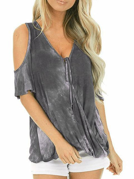 Tie-dye Print Cold Shoulder Tops