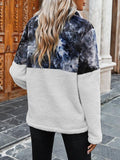 Tie-dye Print Color Block Plush Sweatshirt