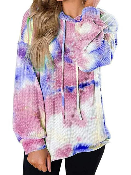 Tie-dye Print Drawstring Hooded Sweatshirt