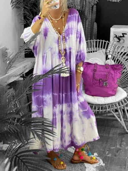 Tie-dye Print Long Dress