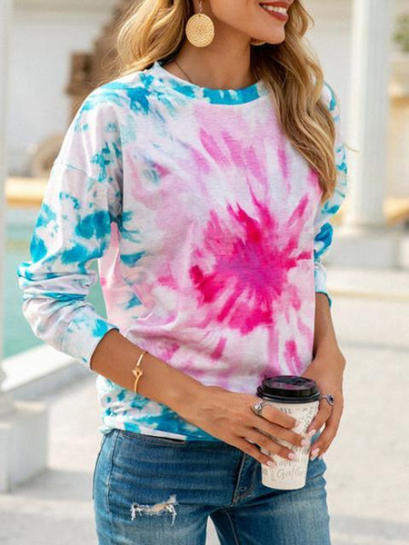 Tie-dye print Long Sleeve Loose Pullover