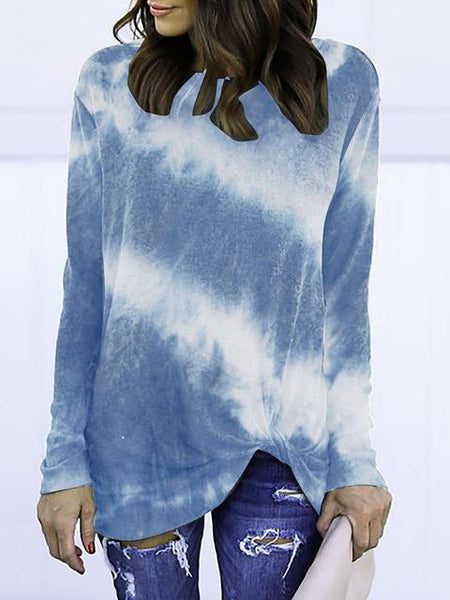 Tie-dye Print Long Sleeve Twisted Tops