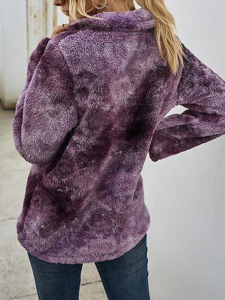 Tie-dye Print Plush Tops With Pocket