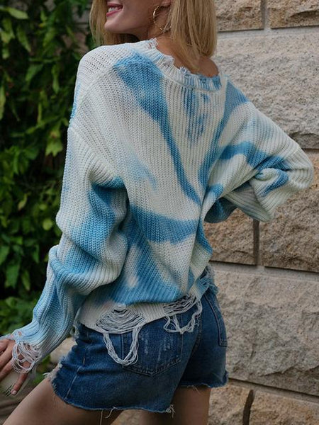 Tie-dye Print V-neck Sweater