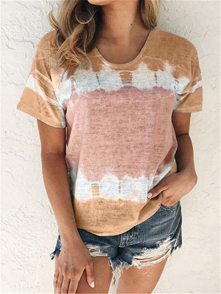 Tie-dye Short Sleeve Casual T-shirt
