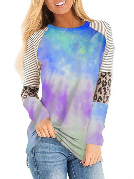 Tie-dye Striped Print Long Sleeve Top