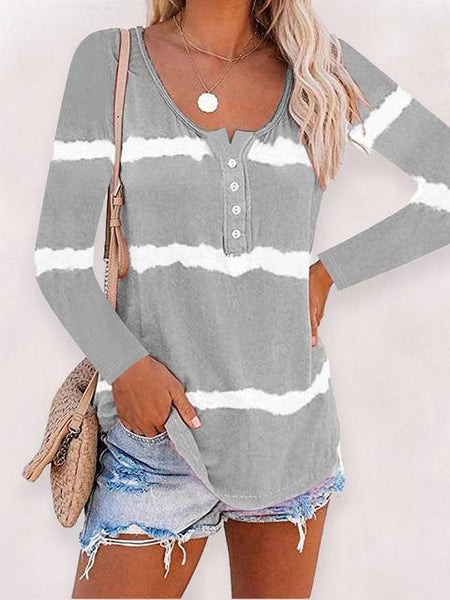 Tie-dye Stripes Print Button Up Tops