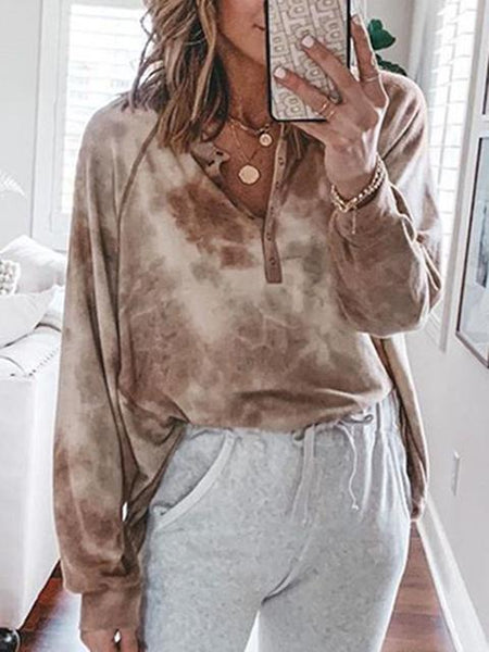 Tie-dye V Neck Casual Sweatshirt