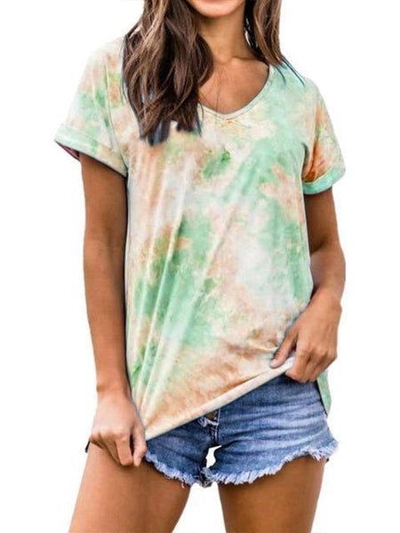 Tie-dye V-neck Casual T-shirt