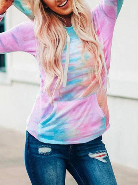 Tie-dye V Neck Hooded Sweater