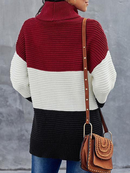 Turtleneck Color Block Pullover Sweater
