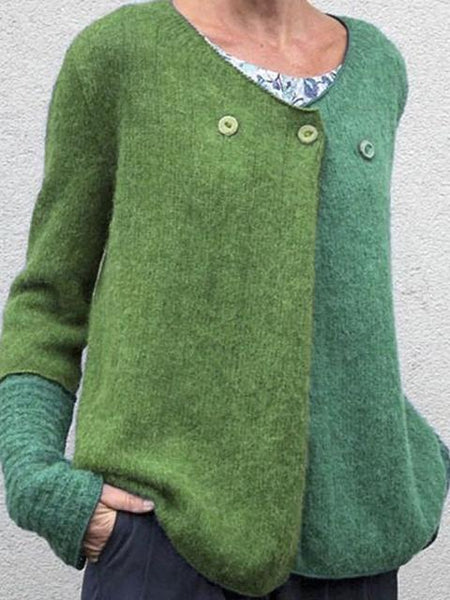 Two Color Patchwork Button Sweater