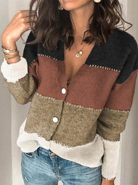 V Neck Buttoned Closure Colorblock Sweater Cardigan