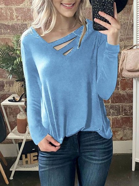 V-neck Long Sleeve Loose T-shirts