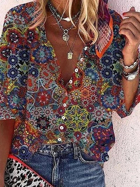 V Neck Print Casual Blouse