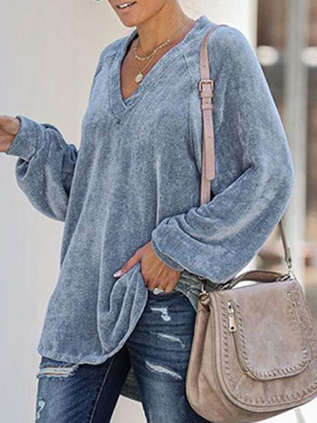 V Neck Regular Loose Tops