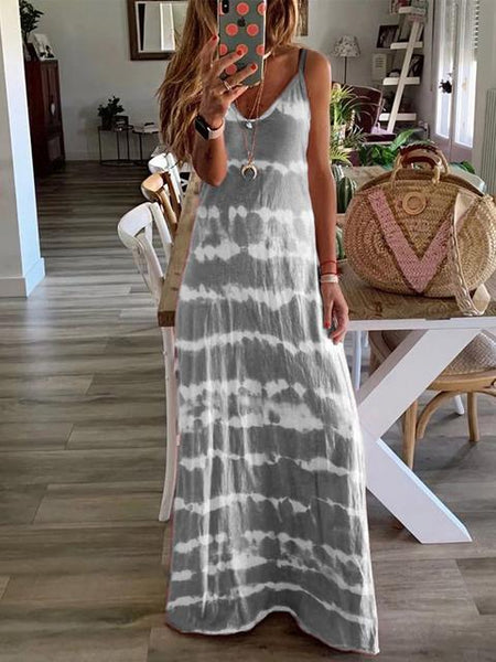 V-neck Tie Dye Print Long Dress