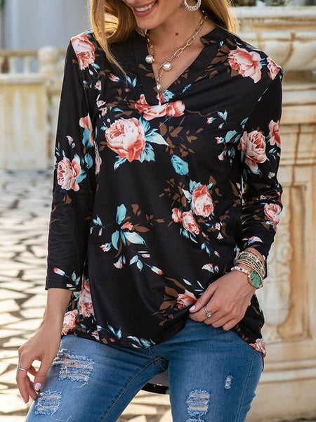 Vintage Flowers V Neck Tops