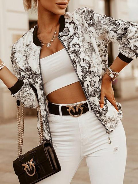 Vintage Print Long Sleeve Short Coat