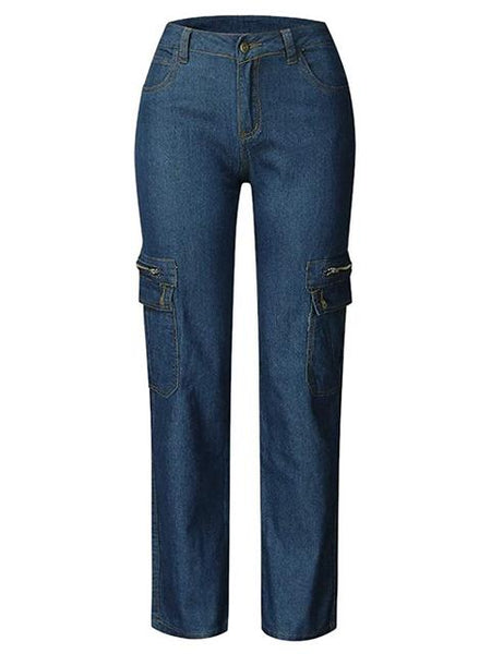 Wide Leg Denim Zipper Cargo Jeans